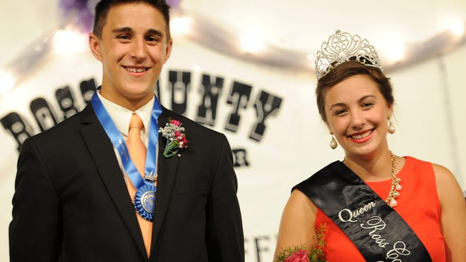 Twins Nathaniel Lamb and Elle Lamb of the Clarksburg Jolly Beef Feeders 4-H club were named the Ross County Fair king and queen on Sunday.