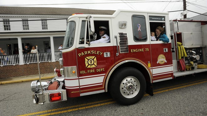 Equipment from the Parksley Volunteer Fire Dept. participates in the Delmarva Volunteer Firemen's Association Parade on Sunday, Oct. 7, 2012. The event took place in Eastville.