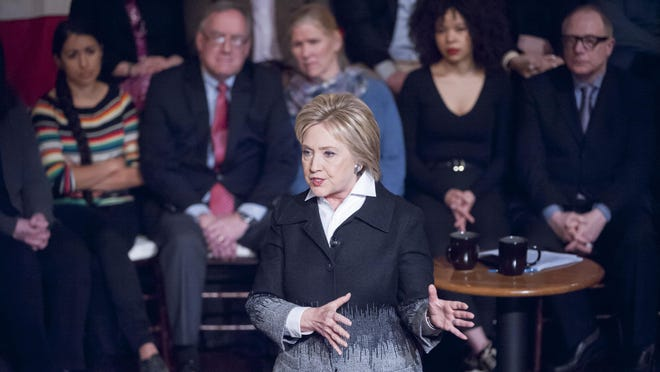 Democratic presidential candidate Hillary Clinton participating in a town hall discussion moderated by Bret Baier and hosted by Fox News at the Gem Theatre in Detroit on Monday.