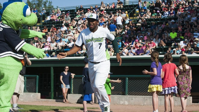 Vermont's Miguel Mercedes (7) takes the field for player introductions during the baseball game between the Connecticut Tigers and the Vermont Lake Monsters at Centennial Field on Sunday in Burlington.