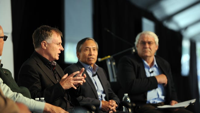 "From left, John Hartnett, of SVG Partners, Ray Corpuz, Salinas city manager, and moderator Dennis Donohue share their insights in the ""Reinventing Salinas"" panel at the 2016 Forbes AgSummit on Thursday."