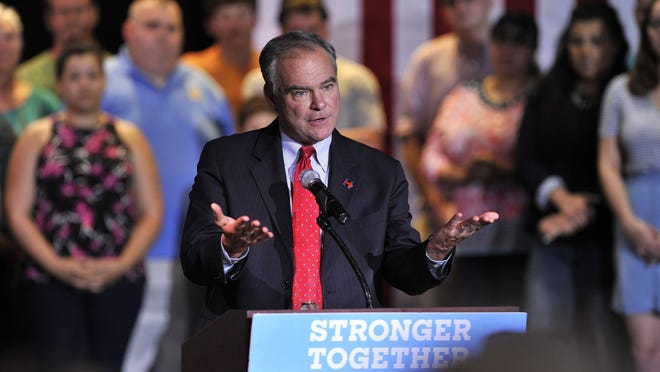 Democratic vice presidential candidate Tim Kaine speaks to a packed house at the Wealthy Theatre on Friday evening in Grend Rapids.
