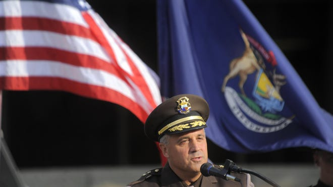 Macomb County Sheriff Anthony Wickersham speaks, Thursday Sept. 15, 2016, during a Patriot Week and Constitution Day Commemoration in front of the Macomb County Circuit Court Building in Mt. Clemens. (Steve Perez/ The Detroit News)