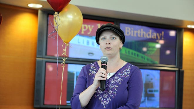 Lisa Josephs of the National Steinbeck Center addresses the Hartnell College Library's 10th birthday party.