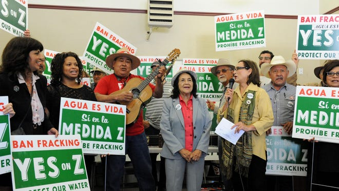 Dolores Huerta leads a rally against Measure Z