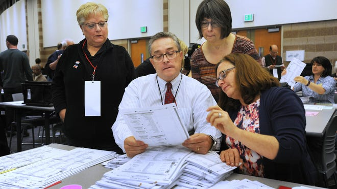 Recount workers in Oakland County began hand counting ballots around noon Monday.