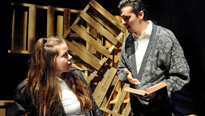 """Brittyn Dion Bonham, left, and Patrick Montgomery get into a heated debate about a hate crime in """"The Laramie Project,"""" opening Thursday at Tallahassee Community College's Fred W. Turner Auditorium."""