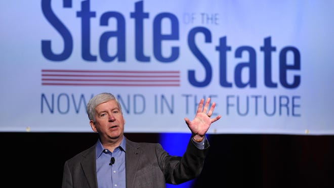 Gov. Rick Snyder speaks at a Detroit Regional Chamber meeting held in Detroit on Tuesday.