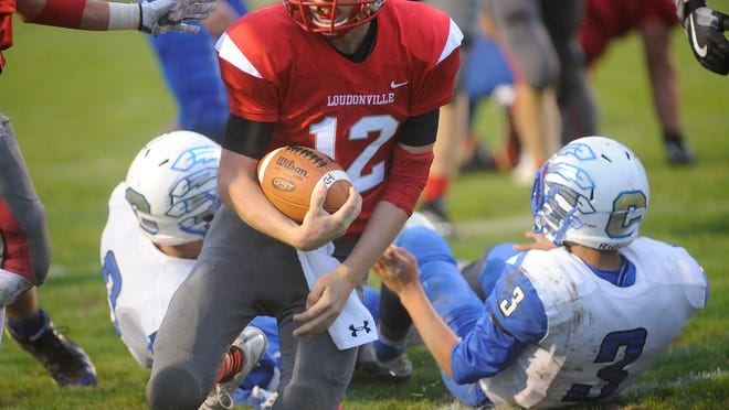 Chippewa has used Native American symbolism in its logo and as part of its uniforms throughout its history, including the football team's helmets (blue and white) from this game against Loudonville in 2017, which features feathers arching around the helmet.
