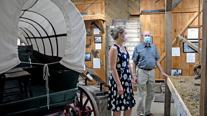 An original Conestoga wagon built around 1870 is on display at the Buckeye Agricultural Museum as state Sen. Kristina Roegner toured the facility Friday.