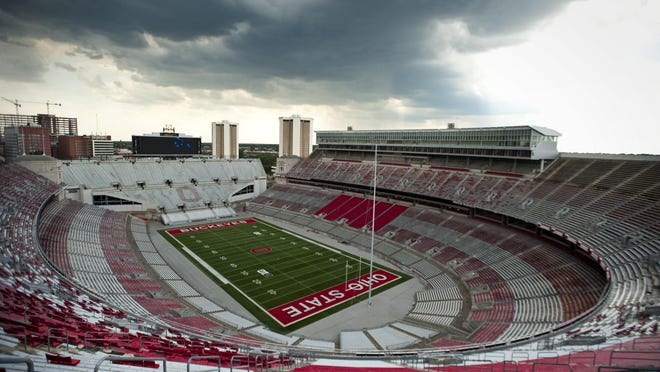 Storm clouds roll through the sky over Ohio Stadium in 2012.