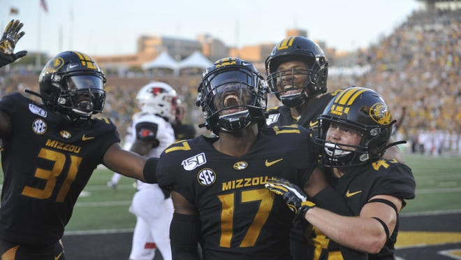 This image of Mizzou's Richaud Floyd (17) celebrating a punt return touchdown against Southeast Missouri earned Don Shrubshell first place for best sports photo in the annual Missouri Press Association contest.