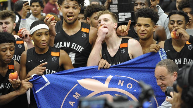 MoKAN Elite players celebrate winning the 2019 Peach Jam at the Riverview Activities Center in North Augusta. On Saturday night, the EYBL announced it was canceling the remainder of the 2020 season.