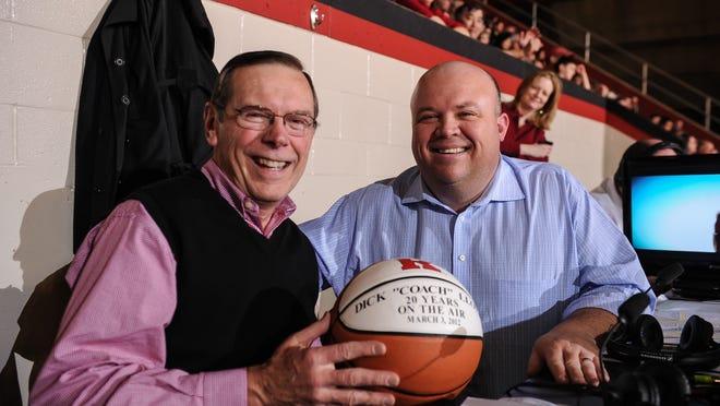 Dick Lloyd (left) with Rutgers basketball broadcast partner Chris Carlin.