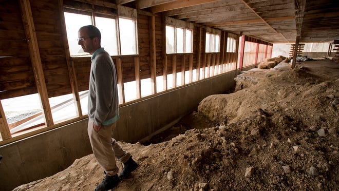 Leo Gibson, attorney for Raj Bhakta and WhistlePig whiskey, walks through the barn that will house the distillery operations for WhistlePig Straight Rye Whiskey at the WhistlePig Farm in Shoreham.