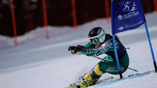Senior Elli Terwiel — seen here competing in the giant slalom at the 2012 NCAA Championships — is back with the University of Vermont Catamounts after spending last year training with the Canadian national team and competing in the Sochi Olympics.