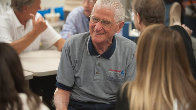 Bill Hansen at his 2014 retirement party at Hutchinson Plumbing, Heating and Cooling in Cherry Hill. Hansen's not a fan of retirement, and when he turned 100 on Monday, he requested to go back to work for the day.