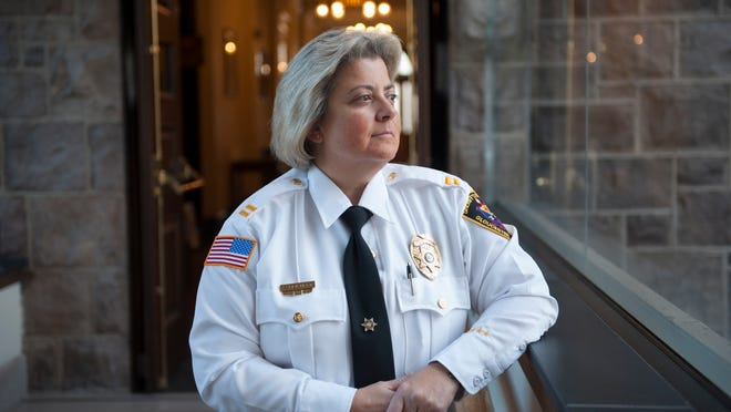 Kim Reichert, a 24-year veteran of Gloucester County law enforcement, was sworn in Wednesday as the Sheriff's department's first-ever female captain — the highest civil service (non-appointed, non-elected) department official.