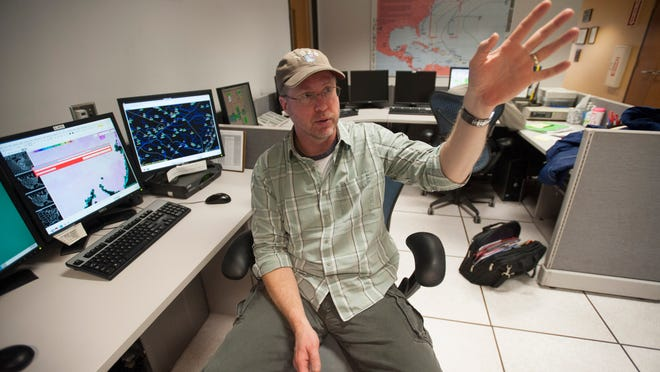 Ray Kruzdlo, a hydrologist with the National Weather Service in Mount Holly, talks about his role with the agency Tuesday.