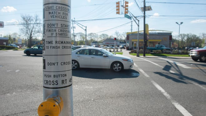 A pedestrian was struck at this intersection of Rt. 45 and Red Bank Ave. in Woodbury on April 22.
