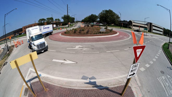This roundabout at the intersection of Pioneer Road and Morris Street has been in use for a few years.