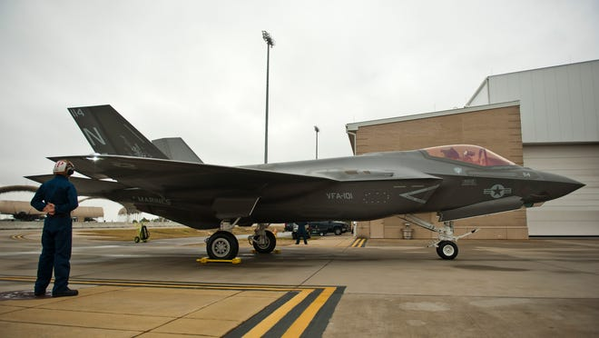 """Lt. Col. J.T. """"Tank"""" Ryan, Marine Fighter Attack Training Squadron 501 Detachment Commander and F-35 pilot, delivered the first Marine Corps F-35C to Strike Fighter Squadron 101 (VFA-101) """"The Grim Reapers"""" on Jan. 13 from the Lockheed Martin plant in Fort Worth, Texas to Eglin Air Force Base near Valparaiso, FL."""