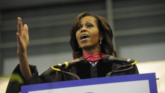 First lady Michelle Obama delivers the commencement address for Martin Luther King Jr. Magnet High at Gentry Center on TSU campus in May 2013.