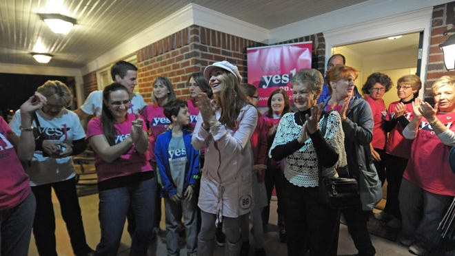Supporters of Amendment 1 celebrate after learning that the amendment passed Tuesday at the Tennessee Right to Life office.