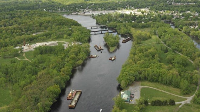 This aerial image, taken in 2009, shows dredging equipment on the upper Hudson River between Moreau, Saratoga County, and Rogers Island in Fort Edward, Washington County.