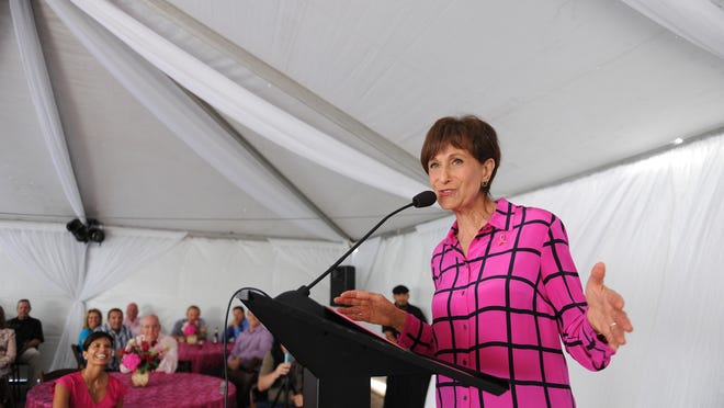 """Guest speaker Myra Biblowit, president of the Breast Cancer Research Foundation, speaks to attendees at Sept. 17's """"Pink Party & Press Conference"""" held at D'Arrigo Brothers headquarters in Salinas. The event commemorated a 15-year combined effort in the fight against breast cancer."""