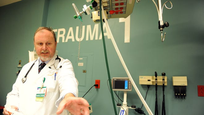Dr. Craig Walls, emergency medical director at Natividad Medical Center, talks about new equipment the hospital can use to save lives. A ceremony on Monday marked the hospital's designation as a Level II Trauma Center for Monterey County.