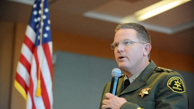 Monterey County Sheriff-Coroner Steve Bernal speaks to a packed house Monday in the Board of Supervisors Chambers at the Monterey County Government Building in Salinas.