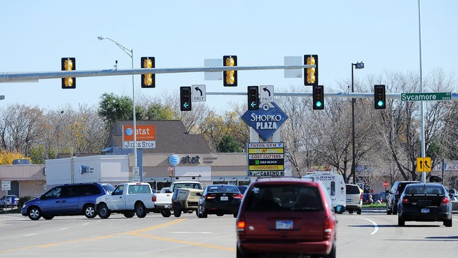 Motorists move freely through the intersection of East 10th Street and Sycamore Avenue in Sioux Falls on Wednesday,   after construction slowed traffic over the summer. The construction project   was part of a city-funded arterial street program.