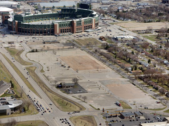 At the center of the photo is the land the Green Bay Packers plan to develop as their Titletown District.