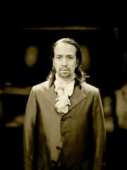 "A portrait of Lin-Manuel Miranda by Josh Lehrer is part of the ""My Shot: Portraits from Hamilton"" display at The Public Theater."