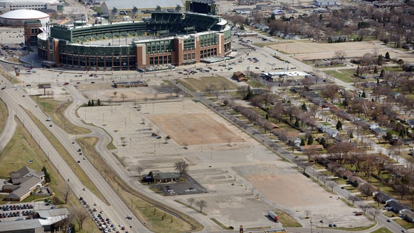 Lambeau Field overlooks the Titletown District in this