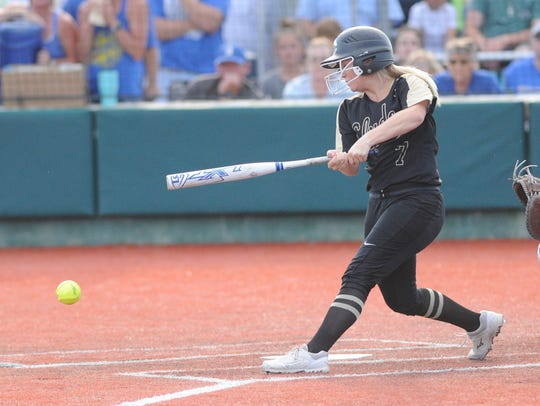 Clyde infielder Jacie Roberts (7) grounds out in the
