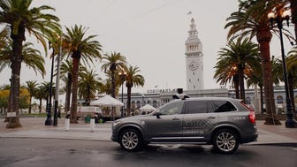 Uber added the self-driving Volvos to its fleet in San Francisco late last year.