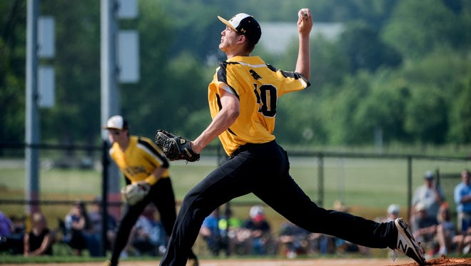 Red Lion's Tyler Burchett delivers a pitch to a Dallastown batter. The Red Lion Lions beat the Dallastown Wildcats, 4-1, during the District III Class 6A semifinals at Spring Grove on Tuesday, May 29, 2018.