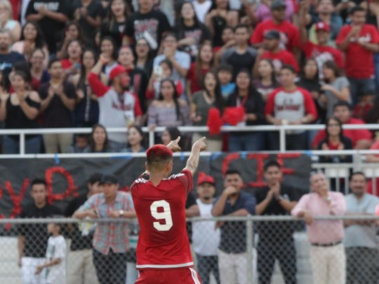 Fred Zaragoza of Desert Mirage High School celebrates his goal with the home crowd at Rancho Mirage High School on March 4, 2016. Desert Mirage won 2-0  against Shadow Hills High School and finished the season 23-0.