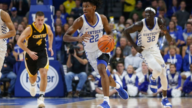 Kentucky Wildcats guard Shai Gilgeous-Alexander (22) drives up the floor during the exhibition game against the Centre College Colonels at Rupp Arena on Friday, November 3, 2017 in Lexington, Ky.