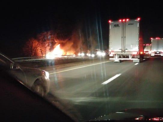 A northbound motorist photographed a fiery crash Thursday