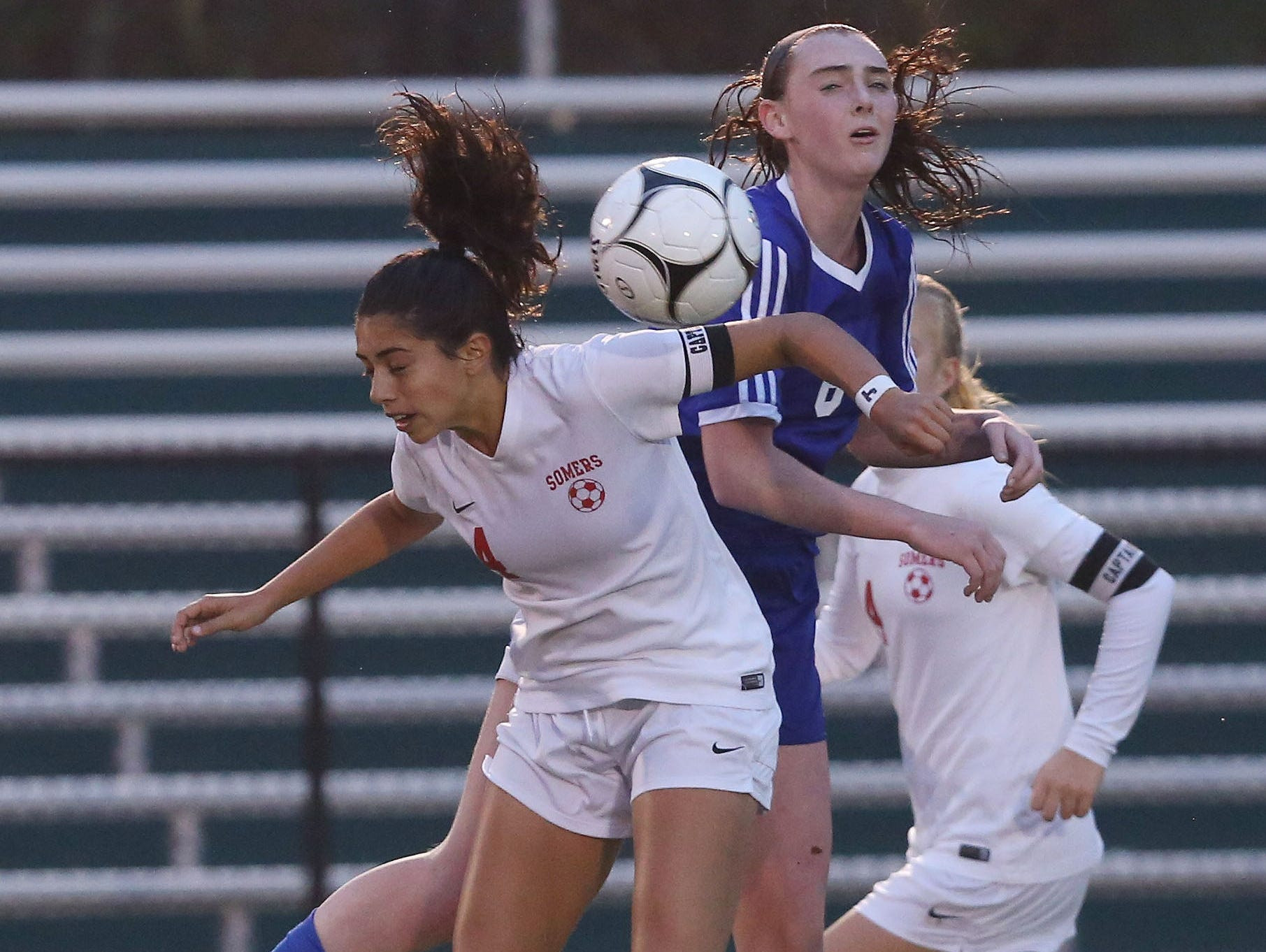 From left, Somers' Ciara Ostrander (4) and Pearl River's Sarah Donovan (6) battle for ball control during the girls soccer Section 1 Class AA championship game at Yorktown High School Oct. 30, 2016. Pearl River won the game 2-1.