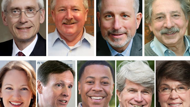 Democratic candidates for Wisconsin governor (clockwise