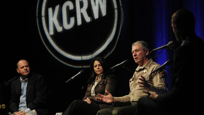 """Immigration was the topic during """"Undocumented Under Trump"""" recently at Oxnard College. From left are panelists Mike Stoker, an agricultural law attorney; immigration attorney Gabriella Navarro-Busch; Ventura County Sheriff Geoff Dean; and moderator Jonathan Bastian of public radio station KCRW in Santa Monica. KCRW hosted the discussion; The Star was a promotional sponsor."""