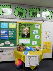 Composer Corner in the music room at Astoria Park Elementary.