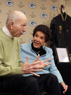 Former Green Bay Packers quarterback Bart Starr and his wife Cherry Starr talk during a press conference as Bart donated several items, including a Super Bowl ring, to the Packers Hall of Fame at Lambeau Field on Monday.