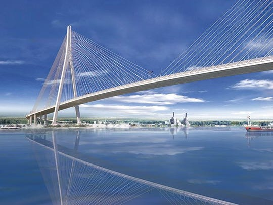 A rendering of the Gordie Howe International Bridge, which will be the longest cable-stay bridge in North America at 853 meters long.