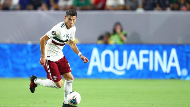 """Mexico defender Hector Moreno pushes the ball upfield against Haiti during the CONCACAF Gold Cup last year. Moreno caught the attention of Mexico and Austin FC fans when he stated """"it's amazing what they (Austin FC) are doing"""" during a radio interview."""