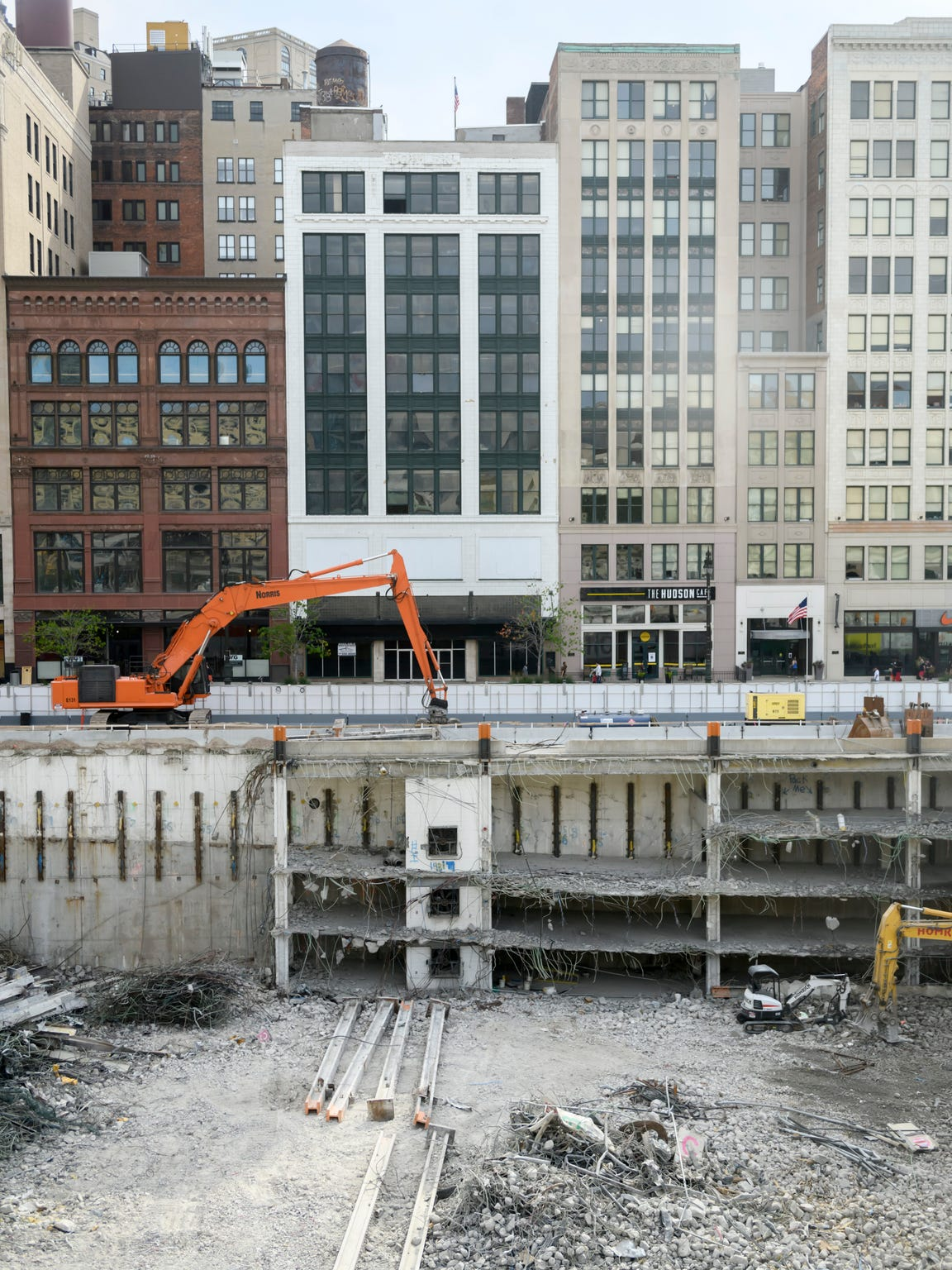 Construction is underway at the Hudson's building site